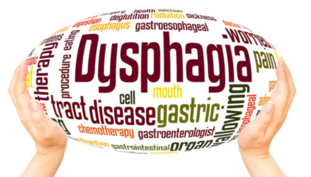 Hands holding a word cloud of terms related to dysphagia